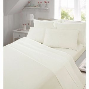 Plain Flannelette Flat Sheet With Pillow Cases