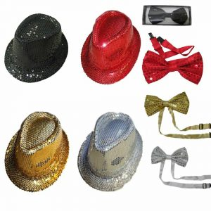 Sequin Trilby Hat And Bow Tie Set