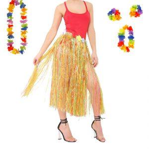 Womens Hula Skirt And 4 Pc Lei Set