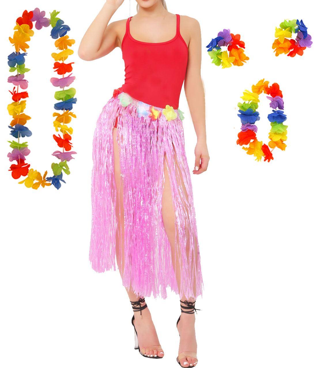 4 PIECE LEI SET HAWAIIAN LUAU PINK LONG HULA SKIRT 80CM WITH FLOWER WAISTBAND