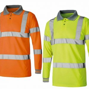 Mens Long Sleeve Hi Vis Polo T Shirt