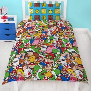 Reversible Super Mario Gang Print Duvet Cover Set