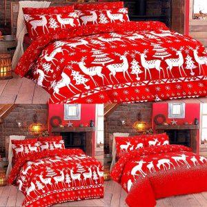 Xmas Reindeer Rudolph Print Duvet Cover Set