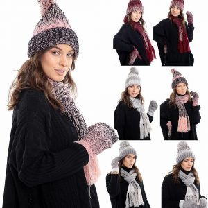 Ladies Fleece Lined Warm Scarf Hat And Mittens Set