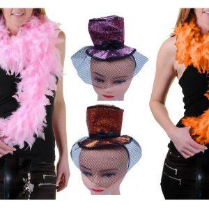 Womens Glitter Fascinator Top Hat Feather Boa Set