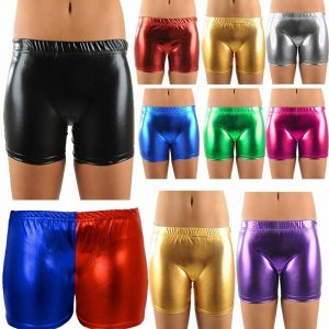 Womens Metallic Wet Look Hot Pants Shorts