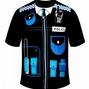 Mens Black Blue Police Printed T Shirt