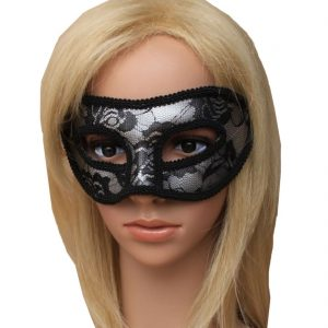 Womens Black Lace Silver Masquerade Eye Mask