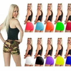 Ladies Neon Microfiber Hot Pants Pack Of 3