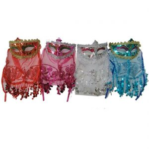 Masquerade Masks With Veil Pack Of 4