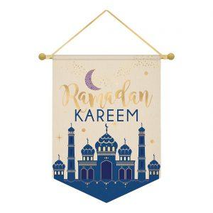 Ramadan Kareem Foil Print Canvas Banner