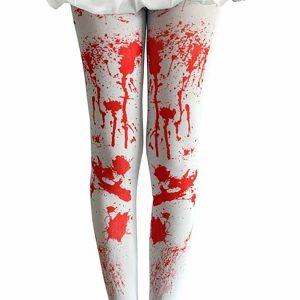 Women White Bloody Tights
