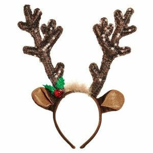 Brown Sequined Antlers Headband