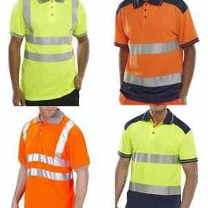 Mens 2 Tone Hi Vis Polo T Shirt
